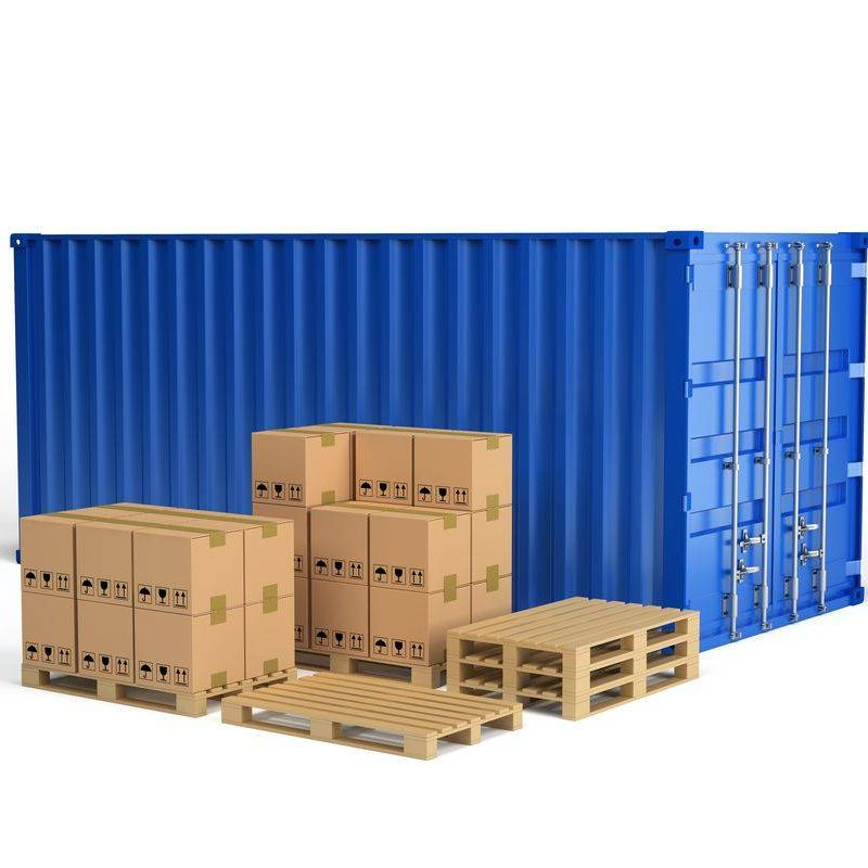 Boxes on wooden pallet and shipping container. 3d image. White background.